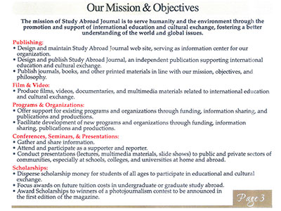 About SAJ Mission and Objectives - Study Abroad Journal